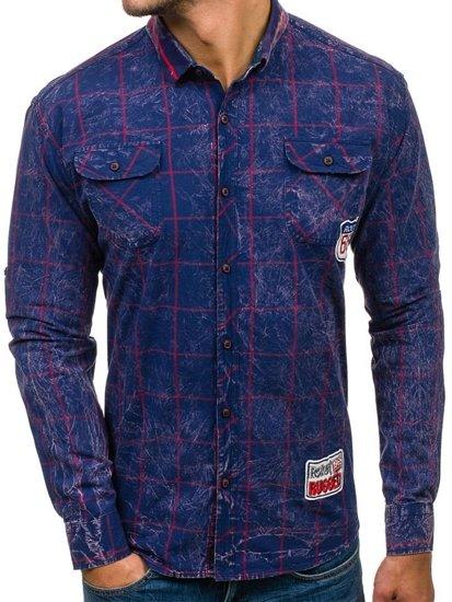 Koszula męska w kratę z długim rękawem granatowo-czerwona Denley 2506