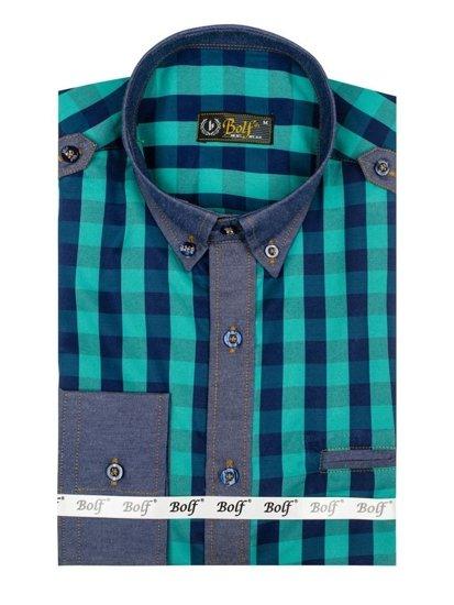Koszula męska w kratę z długim rękawem turkusowa Bolf 7704