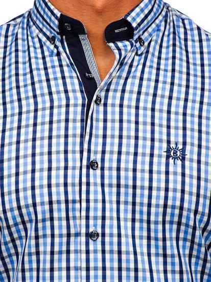 Koszula męska w kratę z krótkim rękawem błękitna Bolf 4510