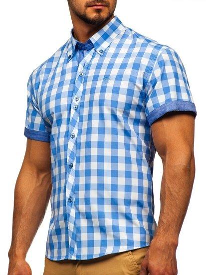 Koszula męska w kratę z krótkim rękawem błękitna Bolf 6522