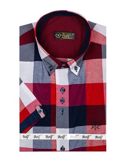 Koszula męska w kratę z krótkim rękawem bordowa Bolf 5532