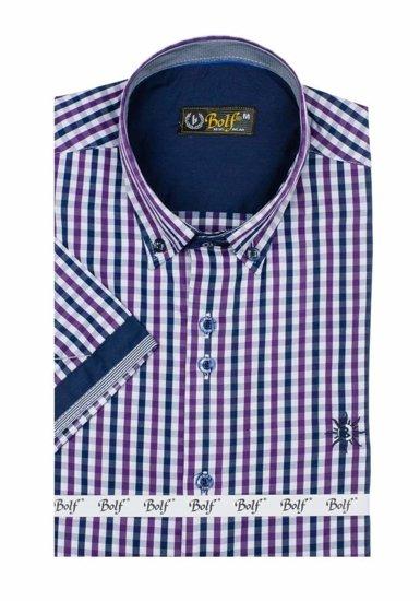 Koszula męska w kratę z krótkim rękawem fioletowa Bolf 4510