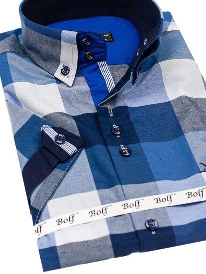 Koszula męska w kratę z krótkim rękawem granatowa Bolf 5532