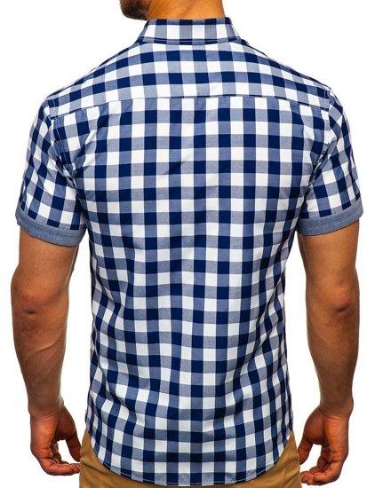 Koszula męska w kratę z krótkim rękawem granatowa Bolf 6522