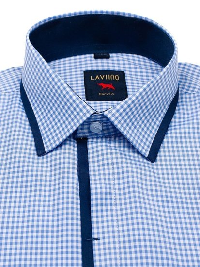 Koszula męska w kratkę z krótkim rękawem niebieska Denley 002