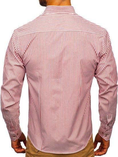 Koszula męska w paski z długim rękawem czerwona Bolf 9711