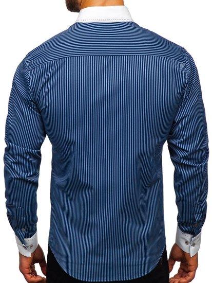 Koszula męska w paski z długim rękawem granatowa Bolf 9717