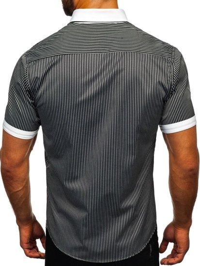 Koszula męska w paski z krótkim rękawem czarna Bolf 1808