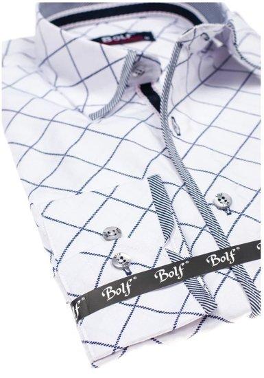 Koszula męska we wzory z długim rękawem biała Bolf 1692