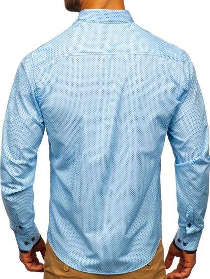 Koszula męska we wzory z długim rękawem błękitna Bolf 9707
