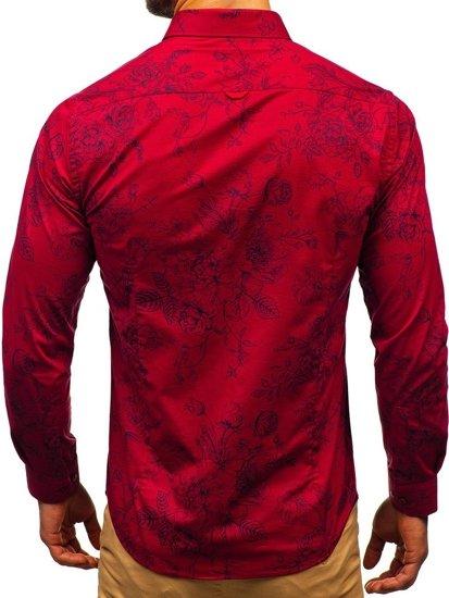 Koszula męska we wzory z długim rękawem bordowa Denley 200G68