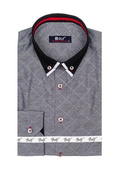 Koszula męska we wzory z długim rękawem grafitowa Bolf 6931