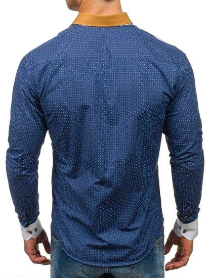 Koszula męska we wzory z długim rękawem granatowa Bolf 8805