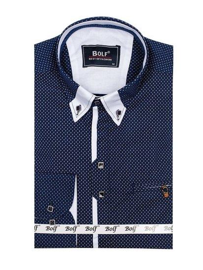 Koszula męska we wzory z długim rękawem granatowo-biała Bolf 7717