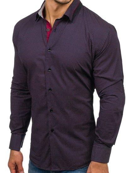 Koszula męska we wzory z długim rękawem granatowo-czerwona Denley TS102