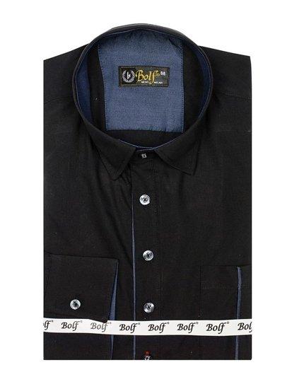 Koszula męska z długim rękawem czarna Bolf 5791