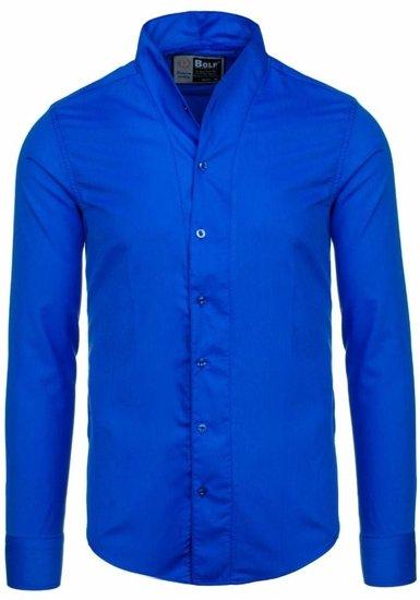 Koszula męska z długim rękawem kobaltowa Bolf 5702