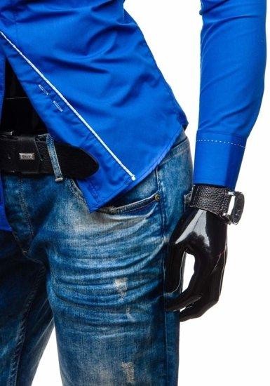 Koszula męska z długim rękawem kobaltowa Bolf 5720-1