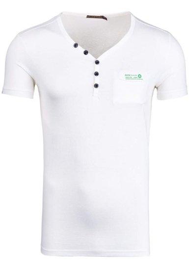 Koszulka męska z nadrukiem w serek biała Denley 6152