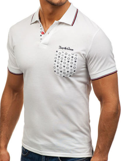 Koszulka polo męska biała Denley 158