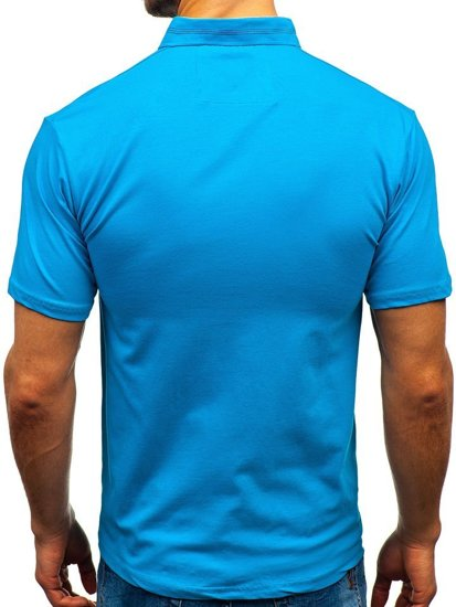Koszulka polo męska niebieska Denley 192037