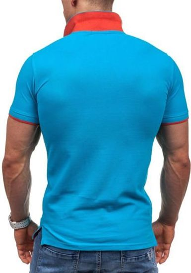 Koszulka polo męska niebieska Denley 7346