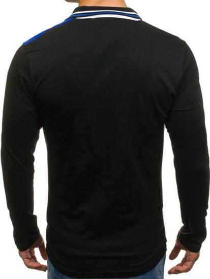 Koszulka polo męska z długim rękawem niebieska Denley 0729