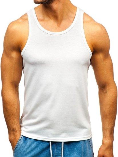 Koszulka tank top bez nadruku biała Denley 99002