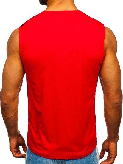 Koszulka tank top z nadrukiem czerwona Denley 100750