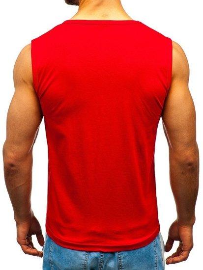 Koszulka tank top z nadrukiem czerwona Denley 14271