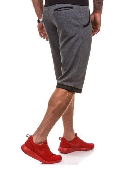 Krótkie spodenki dresowe męskie antracytowe Denley 0489