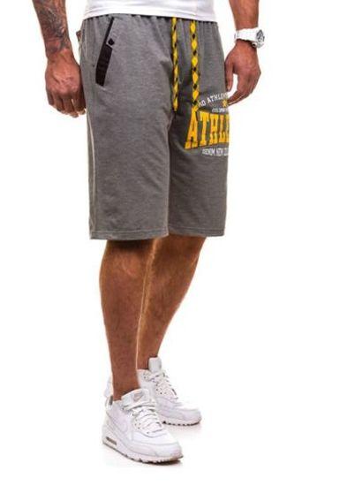 Krótkie spodenki dresowe męskie antracytowo-żółte Denley 192A