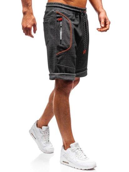 Krótkie spodenki dresowe męskie czarno-pomarańczowe Denley Q3879