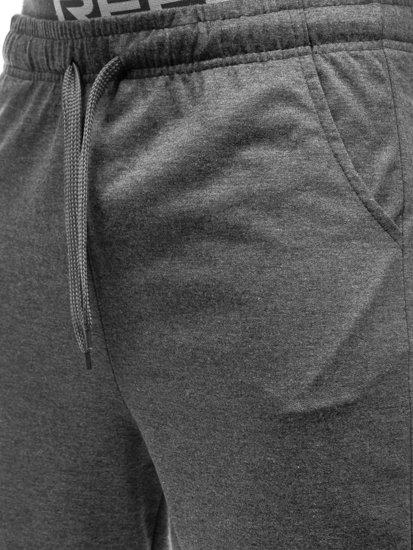 Krótkie spodenki dresowe męskie grafitowe Denley KK301
