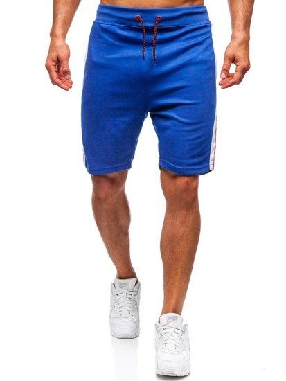 Krótkie spodenki dresowe męskie niebieskie Denley 81015