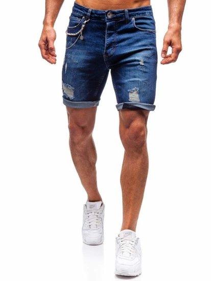 Krótkie spodenki jeansowe męskie granatowe Denley 1060