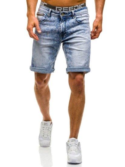 Krótkie spodenki jeansowe męskie jasnoniebieskie Denley 9588