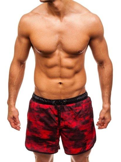 Krótkie spodenki kąpielowe męskie czarno-czerwone Denley 0732A