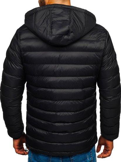 Kurtka męska przejściowa sportowa pikowana czarna Denley JP1101