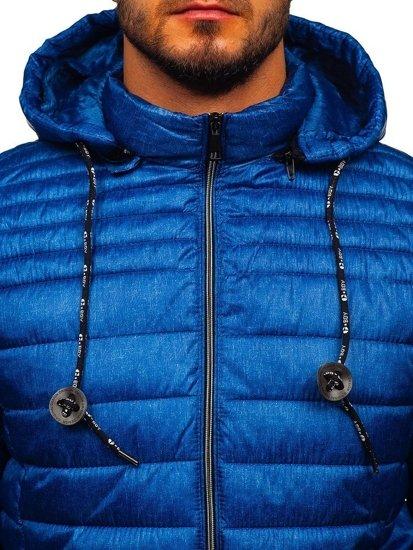 Kurtka męska przejściowa sportowa pikowana niebieska Denley 50A411