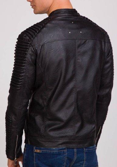 Kurtka męska skórzana czarna Denley 9130