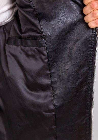 Kurtka męska skórzana czarna Denley 9153