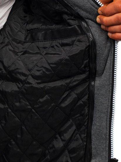Kurtka męska skórzana z kapturem czarna Denley 1103
