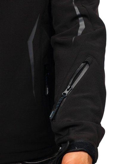 Kurtka męska softshell czarno-niebieska Denley 5612