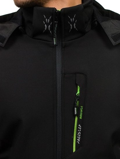Kurtka męska softshell czarno-zielona Denley b023
