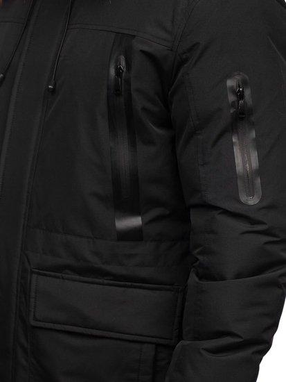 Kurtka męska zimowa parka czarna Denley 1093