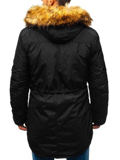 Kurtka męska zimowa parka czarna Denley 5322