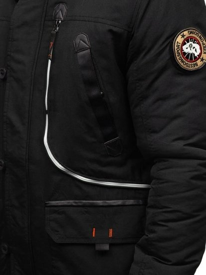 Kurtka męska zimowa parka czarna Denley 5327