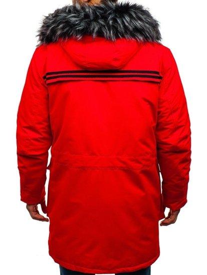 Kurtka męska zimowa parka czerwona Denley 201801