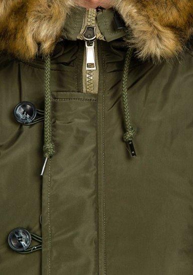 Kurtka męska zimowa parka khaki Denley 3150